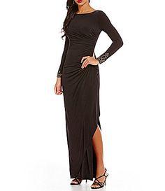 Adrianna Papell Crystal Long Sleeve Side Drape Dress #Dillards