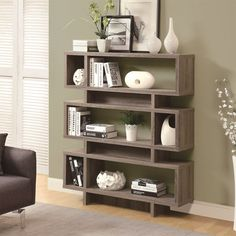 """Monarch Specialties I3251 Dark Taupe Reclaimed-Look 55""""H Modern Bookcase"""