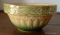 Yellow Ware Pottery | Yellow Ware Petite Bowl. Love the detail and the green on this one.