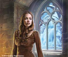Sansa/Alayne at the Eyrie, by Drazenka Kimpel. ~ for Fantasy Flight Games. #ASOIAF #GoT #Sansa #HouseStark