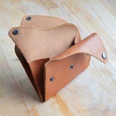 porte monnaie trois rabats en cuir noisette format carte d'identité : Porte-monnaie, portefeuilles par alter-ego-maroquinerie