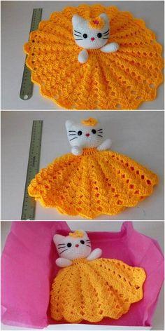 diy Crochet Frock Décor diy Crochet Frock Décor Learn the basics of how to needlework (generic term) Crochet Security Blanket, Crochet Lovey, Easter Crochet, Cute Crochet, Baby Blanket Crochet, Crotchet, Crochet Patterns Amigurumi, Crochet Blanket Patterns, Crochet Dolls