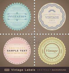 conjunto de vectores: etiquetas vintage  Foto de archivo