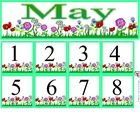 Free May Calendar Set includes month and number cards...