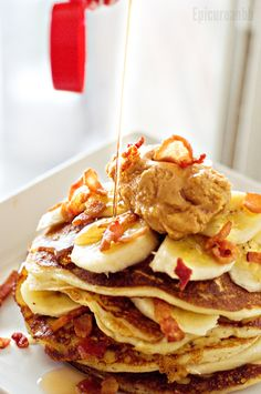 The Epicurean Bodybuilder — Swole Elvis Protein Pancakes! Peanut butter, bacon and banana!