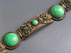 Vintage Art Deco Peking glass Brass Czech Bracelet