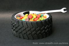 """Rubber Tyre BOWL"" Mechanic, Tradesman & Auto enthusiast dinnerware bowl! Perfect Gift!"