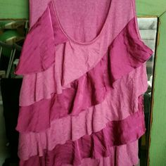 Top tank fuscia pink silky ruffled size xl This ruffled top is great for the layered look or without.  Has a silky appearance & is great with shorts! Rue 21 Tops Tank Tops