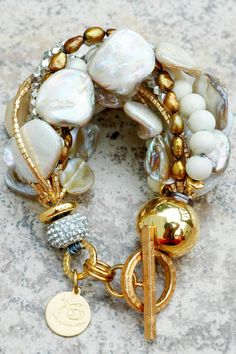 Holiday Inspired Rhinestone, Champagne Pearl, Bronze & Gold Bracelet $195