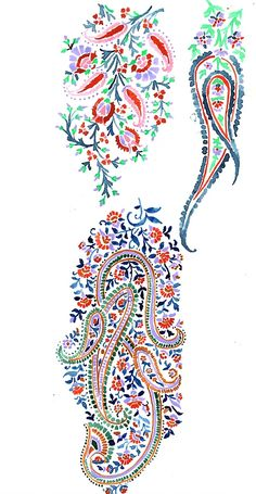 Hand-Painted Sketches from Natalia Gemma Design. Fine Art Textiles, Textile Prints, Textile Design, Lino Prints, Block Prints, Paisley Art, Paisley Design, Paisley Pattern, Embroidery Motifs
