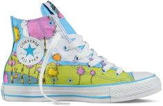 Lorax Converse - Oh, the places you'll go with the Lorax Converse. These Chuck Taylor shoes are inspired by the Dr.Seuss classic 'The Lorax,' which . Chuck Taylors, Converse Chuck Taylor All Star, Converse All Star, Cheap Converse, Cool Converse High Tops, Blue Converse, Converse Sneakers, High Top Sneakers, Classic Sneakers