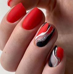 The red color is a timeless color for nails, it looks feminine and passionate. You will never go wrong with choosing classic red for your nails. But, if you want to make them even more interesting you can add different designs and shapes on them. Color For Nails, Nail Colors, Cute Nails, Pretty Nails, Funky Nails, Nail Design Rosa, Nails Design, Navy Nails, Red Nail Art