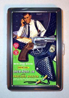 1960s Mattel Toy .38 Revolver Gun w Holster, Cigarette Case, ID Wallet USA Made