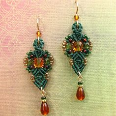 Macrame and glass bead earrings Dark green and by glassdancer,