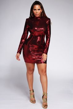 c9639cb0376 Gafna Long Sleeves Red Sequin Party Mini Dress – MY SEXY STYLES Red Sequin  Dress