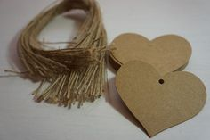 50 Quality Kraft Gift Tags Diecut Large Heart 65mm blank DIY + Twine ~ *Gifts*Labels*