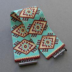 SALE Wide turquoise cuff Wide beaded bracelet by HappyBeadwork
