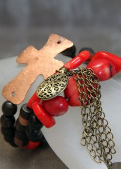 3-piece Stacker Brass Diffuser Locket Bracelet Set made with Coral, Wood and Brass Elements with Homemade Copper Cross