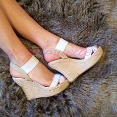 """White wedges White wedges, elastic ankle straps. Length: 10.5"""", width: 3.25"""", heel height: 5"""". Dark spots on material. Shoes Wedges"""