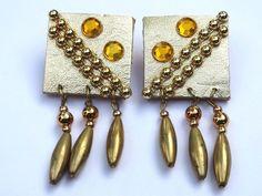 Vintage Retro 1980s Leather Artist Design Rhinestones Earrings Signed