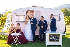 Caitlin & Tim enjoying an afternoon drink with their bridal party at Cambewarra Estate. South Coast Nsw, Caravan Bar, Mobile Business, Pink Vans, Wedding Props, A Boutique, Wedding Photography, Drink, Bridal