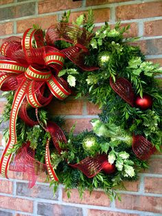 Christmas wreath in lime green and red by LisasLaurels on Etsy, $59.00