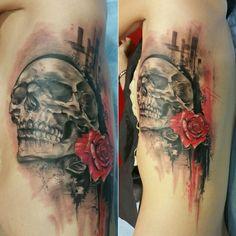 RAFA EMME  FROM ÉLITE TATTOO STUDIO. Valencia (Spain). Valencia Spain, Tattoo Studio, Watercolor Tattoo, Skull, Tattoos, Tatuajes, Tattoo, Temp Tattoo, Tattos