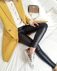 Classic coat over cute knit sweater and trendy faux leather pants with cute print sneakers. Mode Outfits, Fall Outfits, Casual Outfits, Belted Shirt Dress, Coat Dress, Looks Style, Looks Cool, Look Legging, Denim Fashion