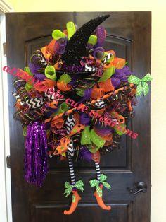 Witch wreath feet hat glitter black purple orange green polka dot chevron spiders  Created by aDOORable cute creations on Facebook https://www.facebook.com/AdooRableCuteCreations?ref=hl