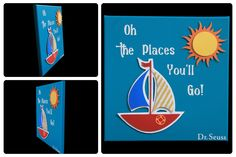 3D Nursery Art - Sailboat and Sun - Oh the Places You'll Go! Dr. Seuss