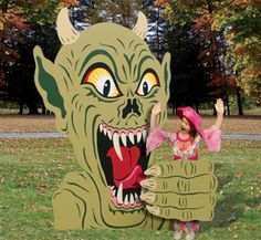 Rising Demon Photo Op Wood Plans  Kids big and small will thrill at getting their photo taken as this scary monster's next meal! Unique yard display is sure to be a popular attraction rising from your yard this Halloween.