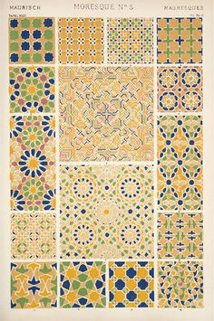 "Moresque / geometric patterns / traditional motives / Image Plate from Owen Jones' 1853 classic, ""The Grammar of Ornament"" Islamic Patterns, Textile Patterns, Textile Design, Print Patterns, Mosaic Patterns, Geometric Patterns, Arabic Pattern, Pattern Art, Pattern Design"