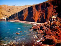Red Sand Kokkini Beach, Santorini Greece
