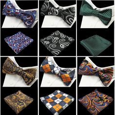 2016 New Design Self Bow Tie And Hanky Set Silk Jacquard Woven Men Butterfly BowTie Pocket Square Handkerchief Suit Wedding