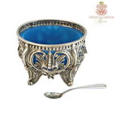 Antique French Silver Blue Opaline Pierced Open Master Salt Cellar  sc 1 st  Pinterest & French empire double salt cellar Paris | Antique French Silver ...