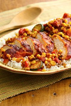 Zesty chicken with rice and honey-roasted corn salsa in under 30 min!