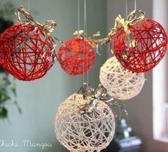 Christmas balls of thread Christmas Balls, Christmas Art, Christmas Projects, Winter Christmas, All Things Christmas, Christmas Tree Ornaments, Homemade Christmas, 242, Diy Weihnachten