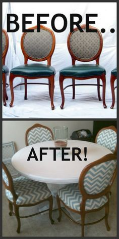 DIY Reupholstered Dining Chairscraigslist Find Turned Chevron Chairs Excuse My