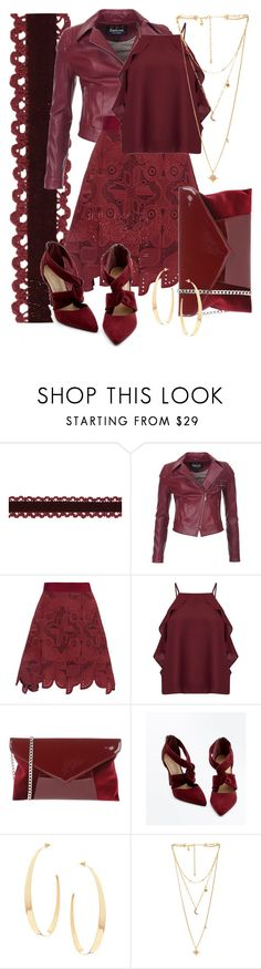 """Leather 'N Lace Monochrome Maroon / Burgundy / Wine"" by funnfiber ❤ liked on Polyvore featuring Barbour International, Antonio Berardi, Miss Selfridge, Antonella Romano, Lana, Rebecca Minkoff and leatherjackets"