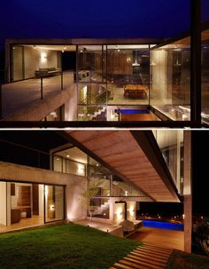 Hillside House with 2 Concrete Volumes, 2nd Story Entrance, Bridge
