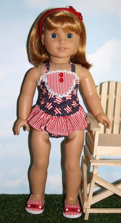 18 Doll / American Girl Red White and Blue One by SewLikeBetty