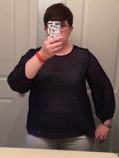 stitch fix top 1 - nice length and fun sleeves, which i wish were just a scootch longer, but that'll be nice in summer.
