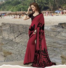 Black & Red Color Georgette Casual Party Sarees : Avani Collection YF-27480