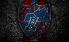 Lataa kuva FC Tokyo, logo, art, J-League, jalkapallo, football club, asfaltti rakenne
