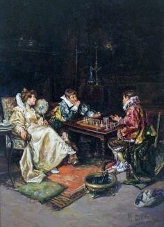 CABALLERO Maximo Juderias (1867 – 1951) Caballeros en una partida de ajedrez.