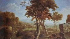 GASPAR DE WITTE ( Anversa 1624 - 1681 ). PAESAGGIO CON SARCOFAGO ROMANO. olio su tela. 82 × 118 cm.
