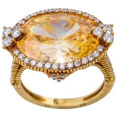 Judith Ripka Canary Color Topaz Ring | From a unique collection of vintage cocktail rings at https://www.1stdibs.com/jewelry/rings/cocktail-rings/