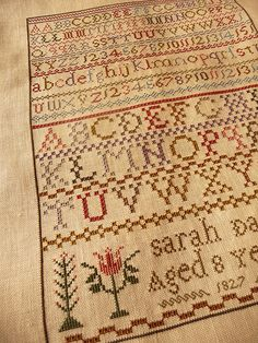 Sarah Day 1827 - Published in Sampler and Antique Quarterly (SANQ) #71 (Summer 2013)