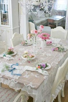 Love the lace table cloth. I also think windows are beautiful if windows have lace curtains.