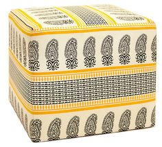 One Kings Lane - Furniture Bazaar - Cora Paisley Pouf, Yellow/Black/White